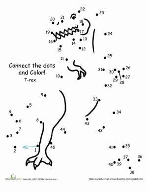 connect the dots t rex worksheet education com