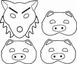 Pigs Three Coloring Pig Face Pages Houses Printable Drawing Wolf Mask Stick Getcolorings Getdrawings Draw sketch template