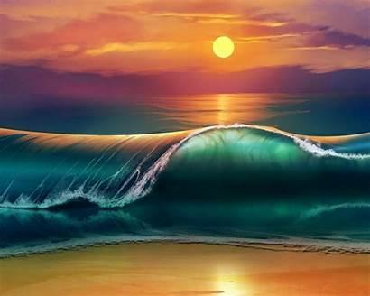 4k Beach Sunset Desktop Waves Wallpapers Laptop
