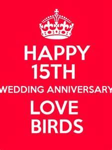 15th wedding anniversary happy 15th wedding anniversary birds poster