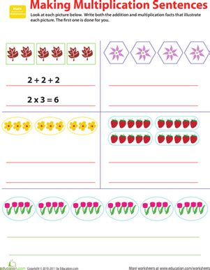 related facts make multiplication sentences worksheet education com