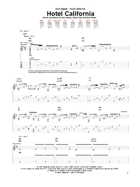 Hotel California Guitar Tab By Eagles (guitar Tab 94410