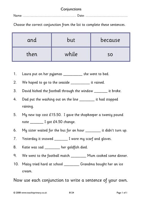 conjunctions  connectives vocabulary punctuation