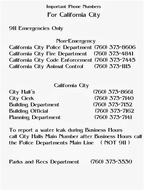 california phone numbers california city community important links and city