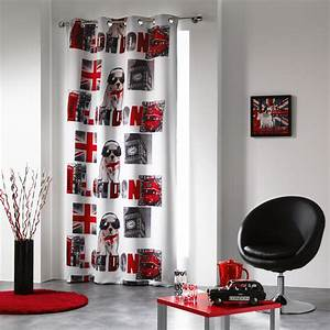 Rideau Gris Et Rouge : rideaux occultants 140x260 cm oeillets london boy ~ Teatrodelosmanantiales.com Idées de Décoration