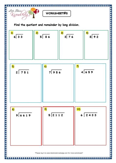 grade 3 maths worksheets division 6 4 division with