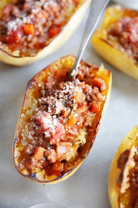 Spaghetti Squash Boats With Homemade Meat Sauce Lexi