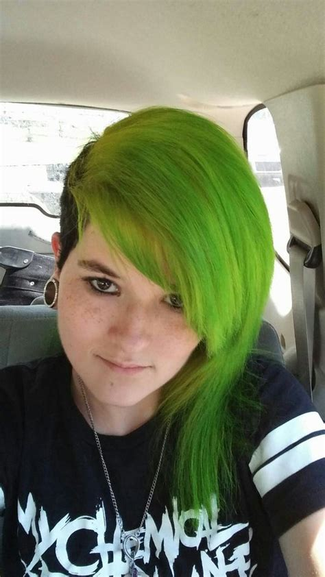 Green Hair With Black Half Shave Hair Pinterest