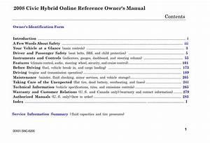 Honda Civic Hybrid 2008 Owner U0026 39 S Manual Has Been Published