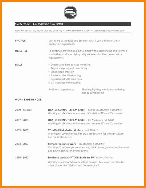Artist Resume Format by Resume Format 3d Artist Resume Templates
