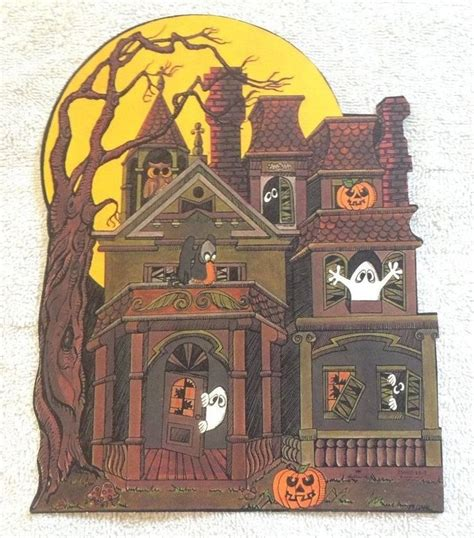 Vintage Hallmark Halloween Die Cut Out Decoration Haunted ...