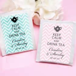 bridal shower party favor ideas keep calm chevron personalized tea bag favor tea time