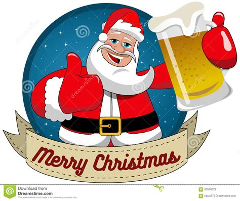 santa claus mug thumb up merry christmas round frame stock vector illustration of cheers