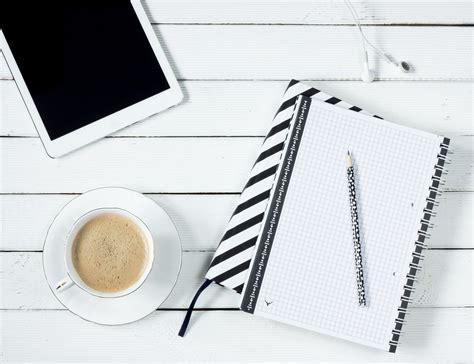 stock photo  desk ipad notebook
