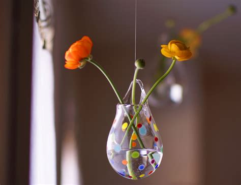 Hanging Wall Vase - hanging glass vase blown glass wall vase polka dot glass