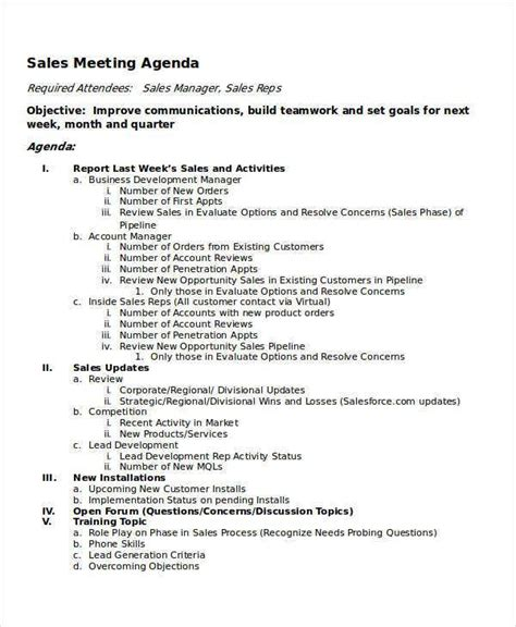 meeting agenda samples  sample  format