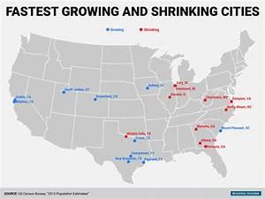 Census Bureau city population change map - Business Insider