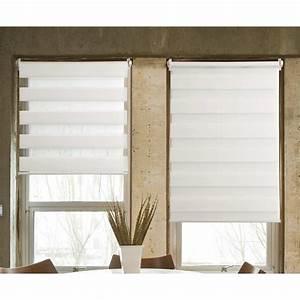 Rideaux Jour Nuit : store jour nuit tissu 100 polyester blanc 45x100 stores rideau voilage stores ~ Teatrodelosmanantiales.com Idées de Décoration