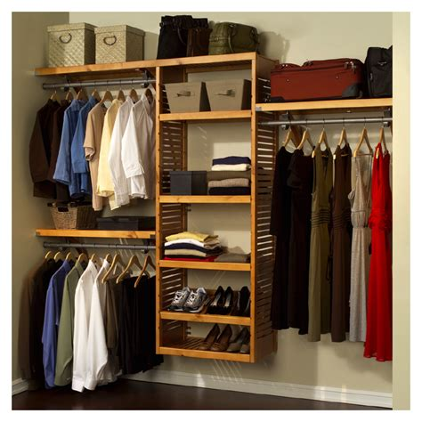 John Louis Home Wood Closet Organizer System Deluxe Maple
