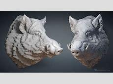 Wild Boar head digital sculpture 3D model for CNC, 3d