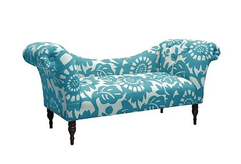chaise turquoise cameron tufted chaise turquoise white