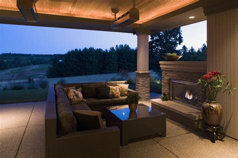 patio covered ceiling heater diy contemporary backyard infrared false lighting homes fireplace dr couch alongside chocolate brown luxury outdoor kaufman