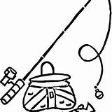 Fishing Pole Coloring Fish Bucket sketch template
