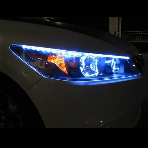 blue led headlight strips light kit strips cars trucks