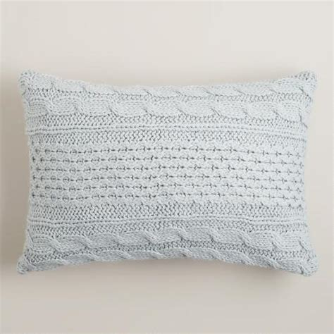light blue lumbar pillow light blue hand knit lumbar pillow world market