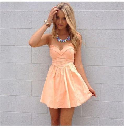 Dress Peach Dress Sexy Dress Party Dress Strapless