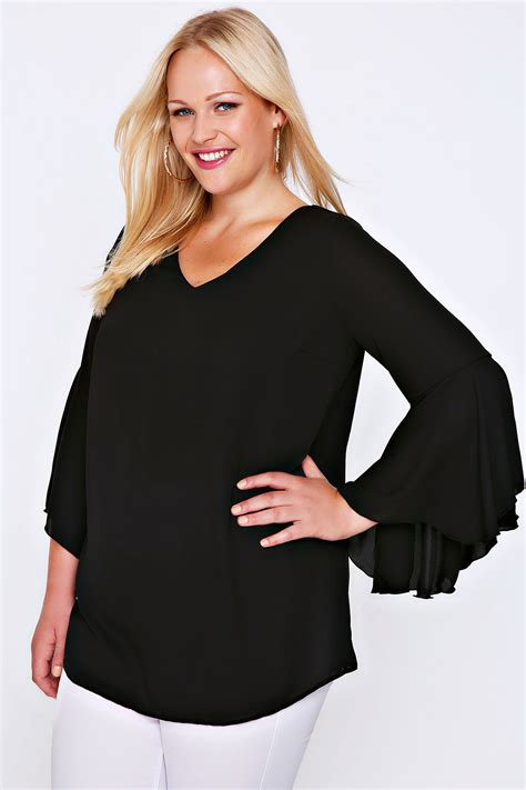 black blouse plus size black blouse with bell sleeves plus size 16 to 32