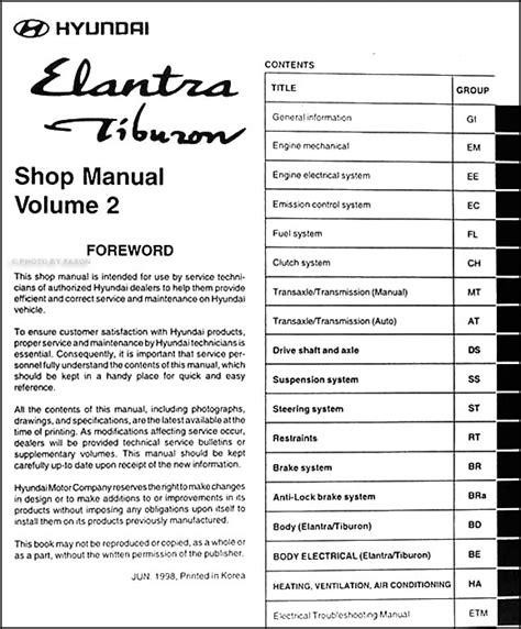 how to download repair manuals 2000 hyundai tiburon navigation system 1999 hyundai elantra tiburon repair shop manual original