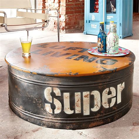 couchtisch industrial style vintage loft living couchtisch rund 214 ltonne industrial style shabby chic holz metall 80