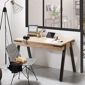 Bureau De Style : bureau design bois et m tal 125x60 2 tiroirs spike by drawer ~ Teatrodelosmanantiales.com Idées de Décoration