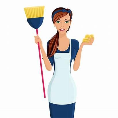 Woman Vector Young Cleaner Clipart Vectors