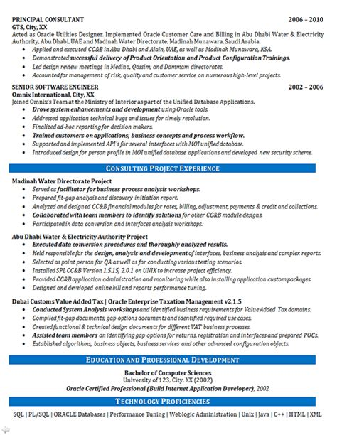 software consultant resume exle oracle systems