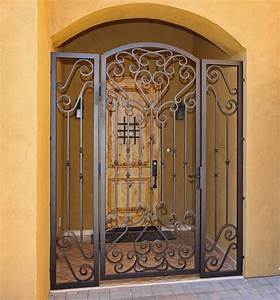 custom scroll iron gate by first impression security doors With kitchen cabinets lowes with wrought iron sun wall art