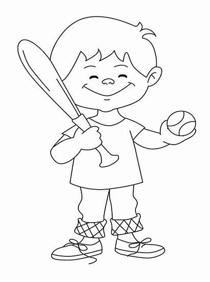 Coloring Baseball Pages Printable Boy Boys Clipart