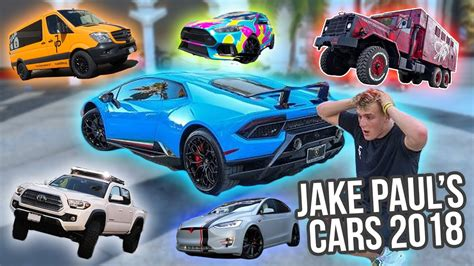 jake pauls giant car collection  update youtube