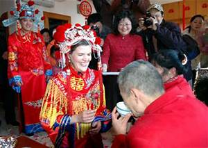 Traditional wedding ceremony for American girl