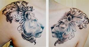 Lion and lioness chest piece. done by Matt Cowell at House ...