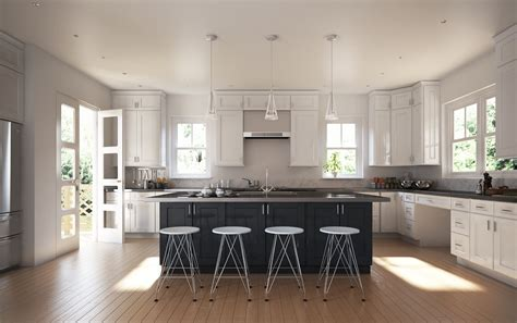 white kitchen with black island semi custom society shaker white pre assembled kitchen 1830