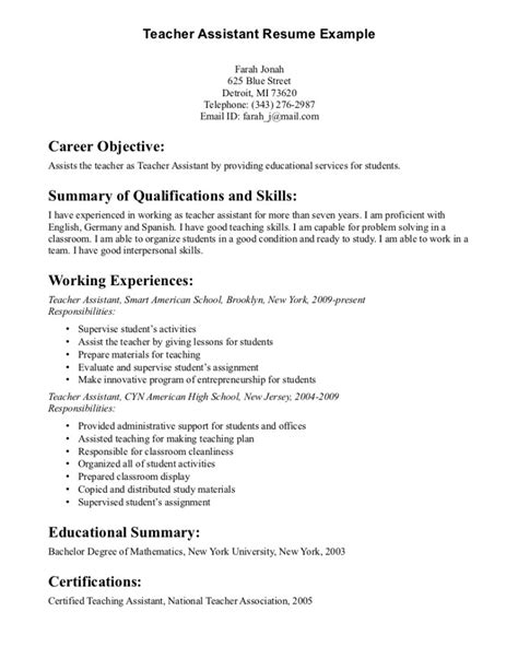 Resume Objective Sle For Teachers by Objective For Resume For Teachers Resume Format