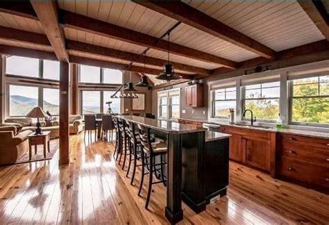 open floor plan post beam mountain style kitchen barnhomes barnhouses barn