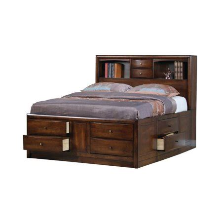 King Bookcase Storage Bed by Coaster Walnut Storage Bookcase Bed In Warm Brown Finish