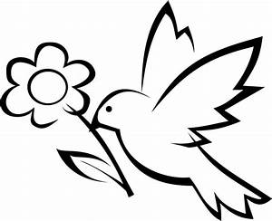 Download and Print simple bird and flower coloring page ...