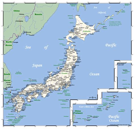 detailed map  japan  cities japan asia