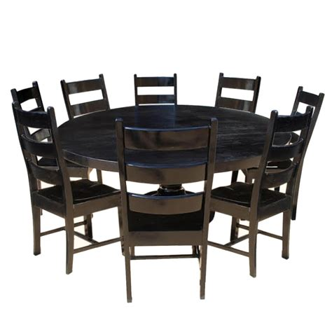 Nottingham Rustic Solid Wood Black Round Dining Room Table Set