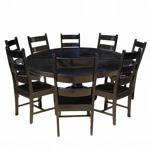 Set Table Rond : nottingham rustic solid wood black round dining room table set ~ Teatrodelosmanantiales.com Idées de Décoration