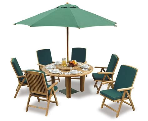patio table with 6 chairs titan teak 6 seater round patio table and reclining chairs set